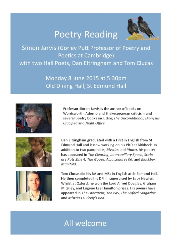 Poetry Reading 8 June 2015
